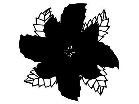 Black illustration flower silhouette isolated on white background