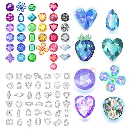 Set di gemme colorate isolato su sfondo bianco, illustrazione vettoriale