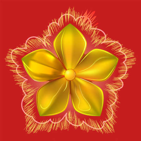 Gold pattern impossible flower metal isolated on red background (vector illustration)