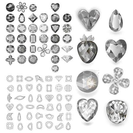 Greyscale gems set isolated on white background, vector illustration