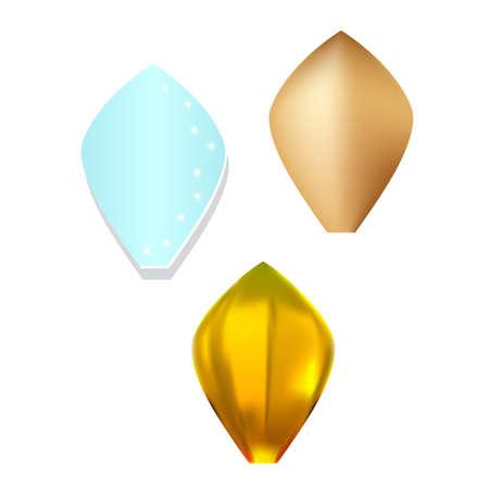Gold pattern flower metal petal set isolated on white background (vector illustration)