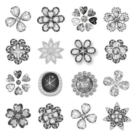 Gemstones jewelry brooch flower pattern set isolated on white background (vector illustration) Ilustrace