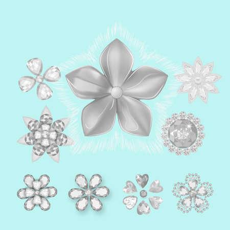 Pocket bag gemstones jewelry brooch flower pattern set isolated on white background (vector illustration) Illustration