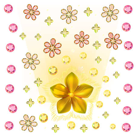 Gold pattern show flower metal isolated on background (vector illustration)