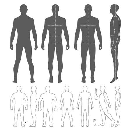 Fashion man body full length bald template figure silhouette (front, back and side views), vector illustration isolated on white background
