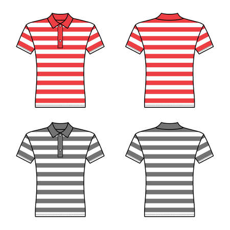Polo striped t shirt man template (front, back views), vector illustration isolated on white background Ilustração
