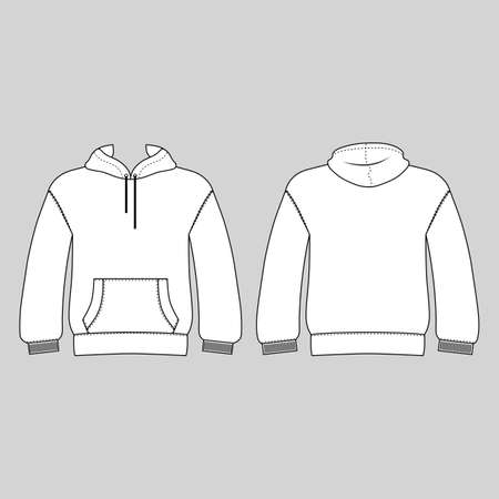 Hoodie man template (front, back views), vector illustration isolated on white background Ilustrace