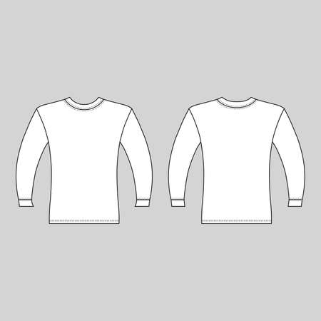 Long sleeve t-shirt outlined template (front & back view), vector illustration isolated on grey