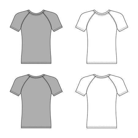 Short sleeve raglan t-shirt outlined template (front & back view), vector illustration isolated on white