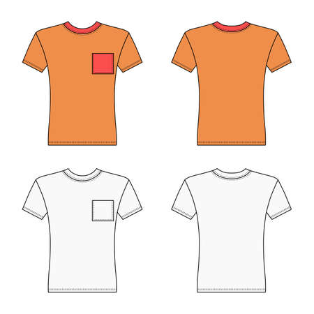 Short sleeve t-shirt outlined template (front & back view), vector illustration isolated on white