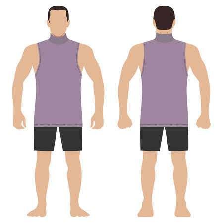Fashion hero man body full length template figure set silhouette in shorts and singlet (front, back views), vector illustration isolated on white background Ilustração