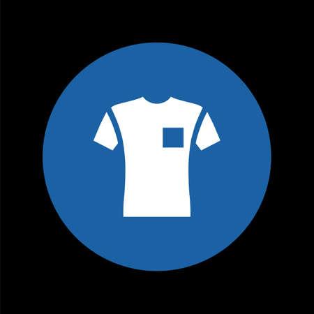 Short sleeve pocket t-shirt front view flat style, vector illustration isolated on black Ilustração