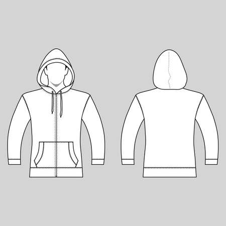 Hoodie zip fastener man template (front, back views), vector illustration isolated on white background Illustration