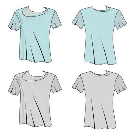 T shirt man template (front, back views), vector illustration isolated on white background Ilustração