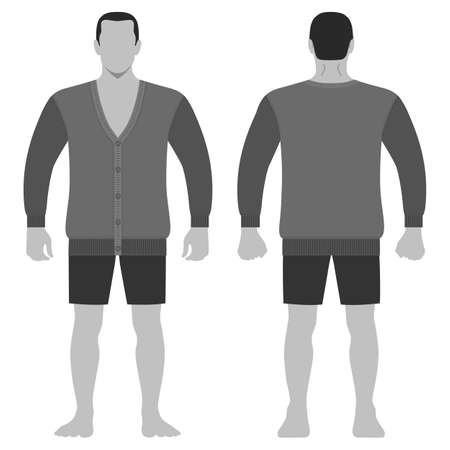 Fashion man body full length template figure silhouette in shorts and cardigan (front, back views), vector illustration isolated on white background