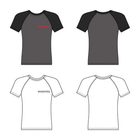 T shirt hashtag man template (front, back views), vector illustration isolated on white background