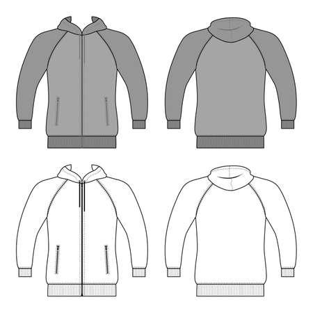 Hoodie zip fastener man template (front, back views), vector illustration isolated on white background Ilustração