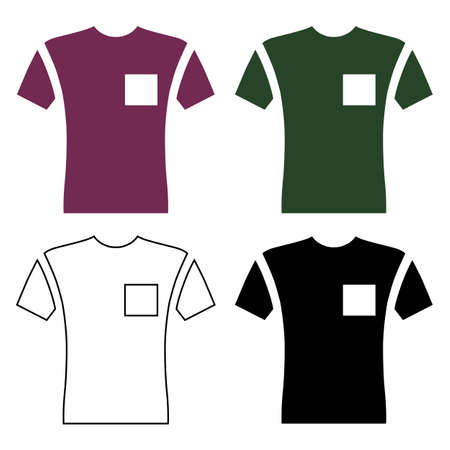 Short sleeve pocket t-shirt front view flat style, vector illustration isolated on white