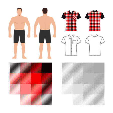 Tartan shirt man template (front, back views) and pattern, vector illustration isolated on white background Illustration