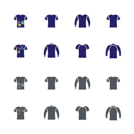 Front view flat style sweater, sweatshirt, t-shirt icon set, vector isolated illustration