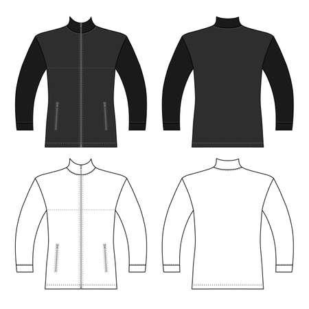 Zip fastener turleneck jacket man template (front, back views), vector illustration isolated on white background Ilustração