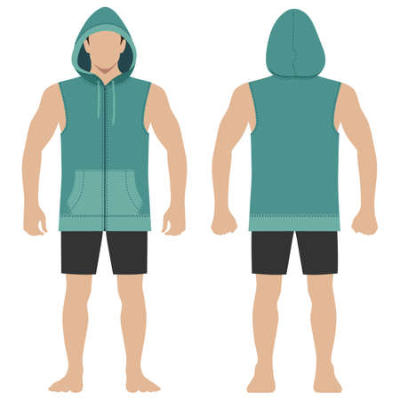 Fashion man body full length template figure silhouette in shorts and zip fastener hoodie (front, back views), vector illustration isolated on white background