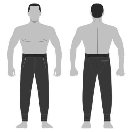 Fashion man body full length template figure silhouette in sweatpants (front, back views), vector illustration isolated on white background