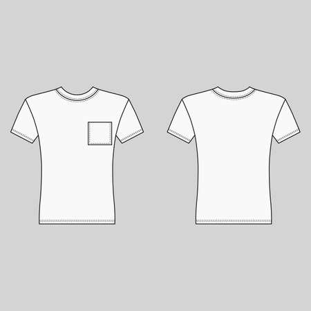Short sleeve t-shirt outlined template (front & back view), vector illustration isolated on gray  イラスト・ベクター素材