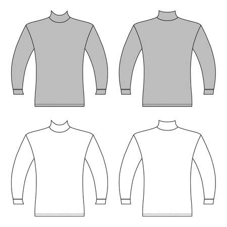 Long sleeve t-shirt outlined template (front & back view), vector illustration isolated on white