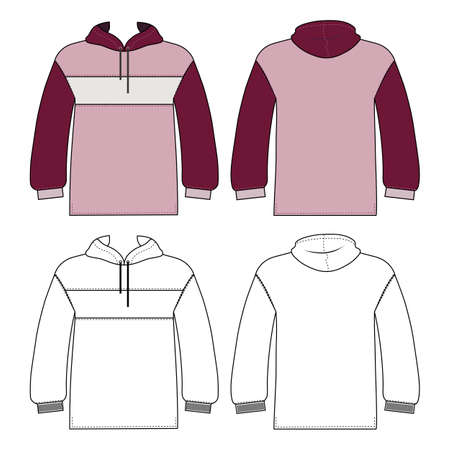 Hoodie man template (front, back views), vector illustration isolated on white background Ilustração