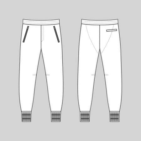 Sweatpants man template (front, back views), vector illustration isolated on white background Ilustracja