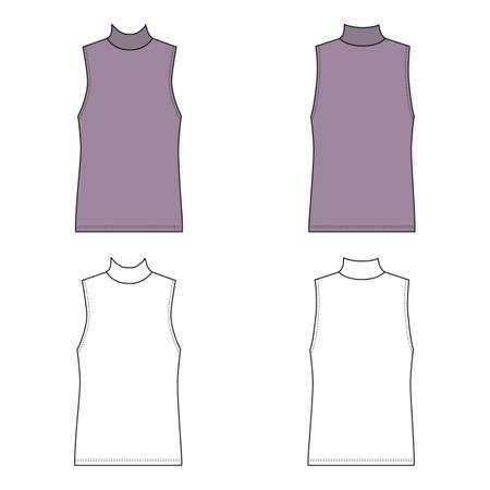 Singlet man template (front, back views), vector illustration isolated on white background Ilustração