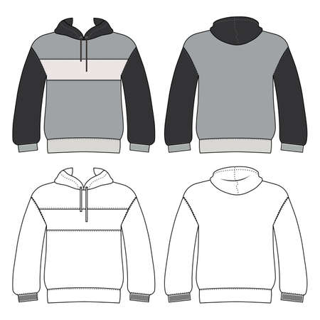 Hoodie man template (front, back views), vector illustration isolated on white background Illustration