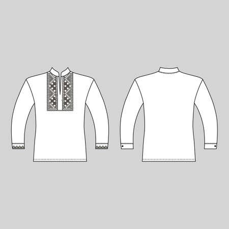 T Slavic shirt vyshivanka man template (front, back views), vector illustration isolated on white background