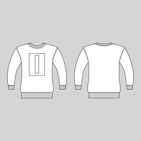 T shirt man template (front, back views), vector illustration isolated on white background 矢量图像