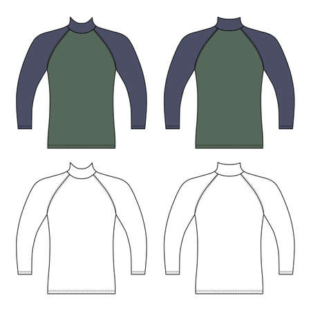 Long sleeve raglan t-shirt outlined template (front & back view), vector illustration isolated on white
