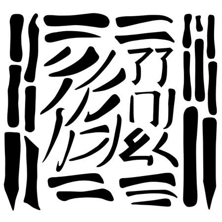 Main Chinese hieroglyphs calligraphy graphic symbol colored element set (DOT, HOOK, HORIZONTAL, VERTICAL, FALLING LEFTWARDS, FALLING RIGHTWARDS, UPPING LINE, SINGING CRICKET, CURLED DRAGON, FROLICKING BUTTERFLY and SURROUNDING LINE), vector illustration isolated on white background Çizim