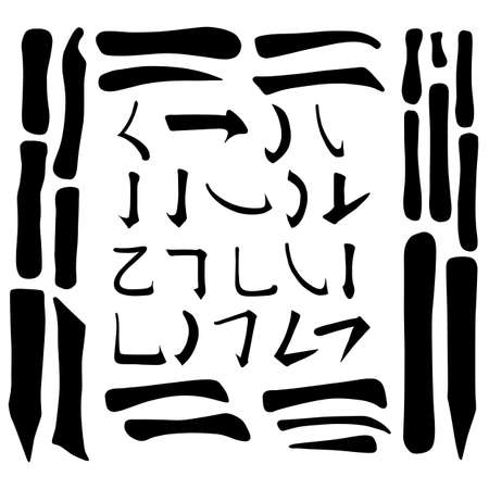 Main Chinese hieroglyphs calligraphy graphic symbol colored element frame set (HORIZONTAL, VERTICAL and HOOK), vector illustration isolated on white background