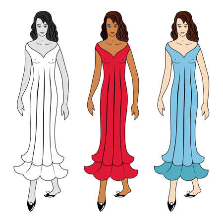 Fashion woman body full length template figure silhouette in dress or nightgown front view, colored and black white vector illustration isolated on background Stock fotó