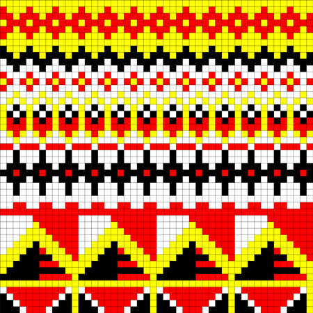 Geometrical seamless counting jacquard embroidery or knitting scheme motif pattern background, isolated raster illustration. For apparel textile: sweater, sock, scarf; interior: napkin, cushion Ilustrace