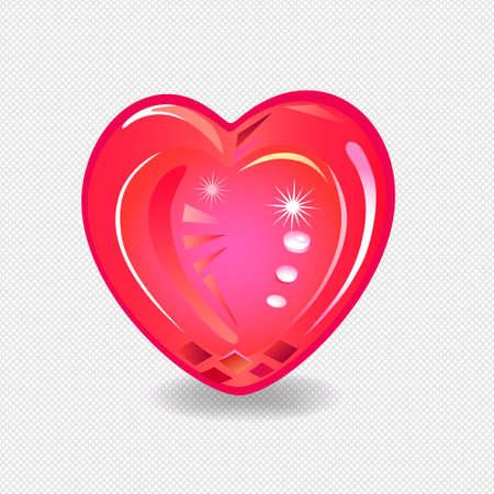 Heart cut gemstone motif pattern shape on mesh seamless background, vector illustration Vettoriali