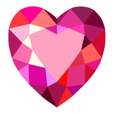 Heart cut gemstone motif pattern shape on white background, vector illustration