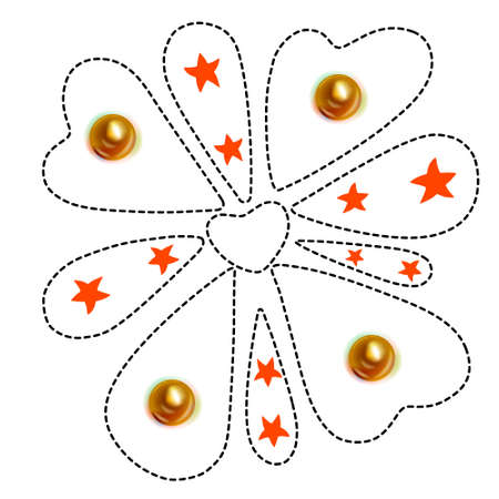 Tshirt outlined heart shape design motif pattern shape isolated on white background, vector illustration Vettoriali