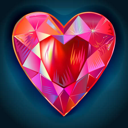 Heart cut gemstone motif pattern shape on blue background, vector illustration Vettoriali
