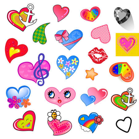 Set of comic different colored style heart characters, suitable for a variety design, isolated on background. Vector illustration
