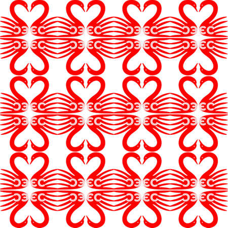 Pattern with hearts, dots and swans shape set isolated on white background, vector illustration