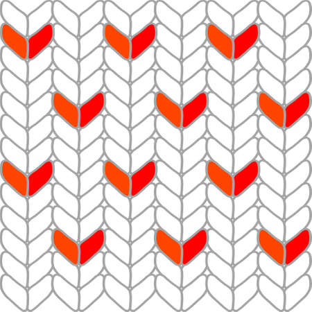 Knitted abstract heart white stripe winter decor motif pattern shape set on background, vector illustration