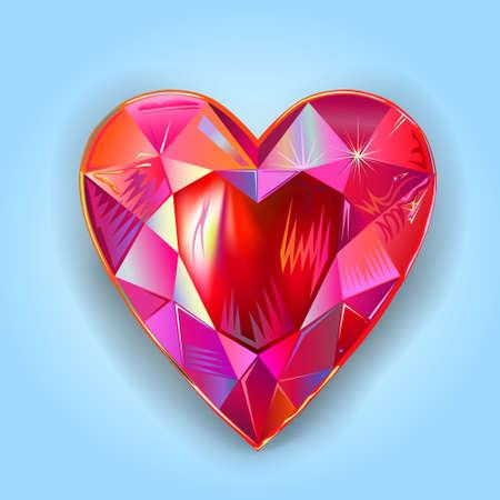 Heart cut gemstone motif pattern shape on blue background, vector illustration Archivio Fotografico