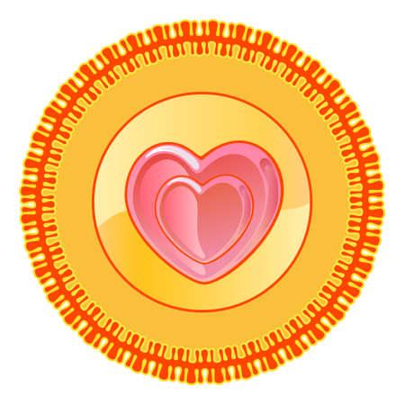 Heart shape round plate design motif pattern shape isolated on white background, vector illustration