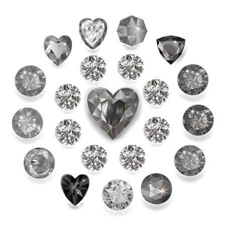 Heart cut gemstone motif pattern shape set on white background, vector illustration